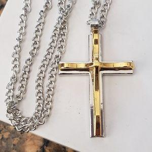 Silver Gold Tone Cross Pendant Chain Necklace
